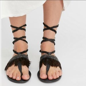 Free People Black Tie Up Feather Gladiator Sandals
